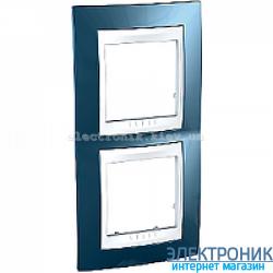 Рамка двухместная Schneider (Шнайдер) Unica Plus вертикальная Голубой лед/Белый