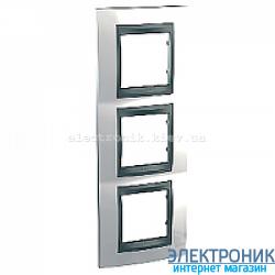 Рамка 3-я вертикальная Schneider Electric Unica Top Белоснежный/Графит