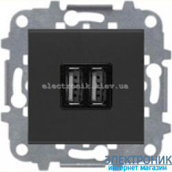 Розетка USB для подзарядки 1400мА/700Ма  ABВ Zenit антрацит