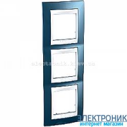 Рамка трехместная Schneider (Шнайдер) Unica Plus вертикальная Голубой лед/Белый