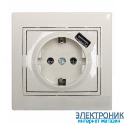 MIRA Розетка с/з + USB крем