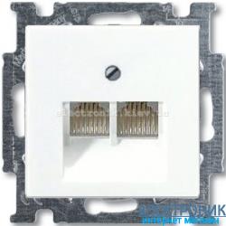 Компьютерная или телефонная розетка двойная ABB Basic 55 белый
