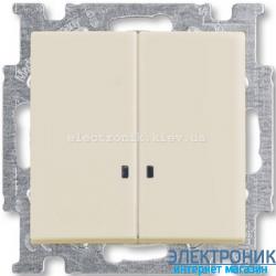 Выключатель 2-клав с подсветкой ABB Basic 55 бежевый