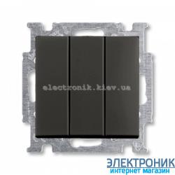 Выключатель 3-клав 16А ABB Basic 55 шато черный