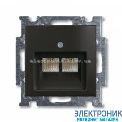 Компьютерная или телефонная розетка двойная ABB Basic 55 шато черный