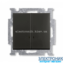 Выключатель 2-клав с подсветкой ABB Basic 55 шато