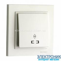 Выключатель 1 клавишный проходной с подсветкой Despina белый