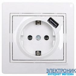 MIRA Розетка с/з + USB белая