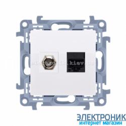 Розетка SIMON 10 телевизионная + компьютерная Белый