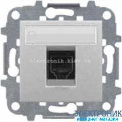 Розетка компьютерная или телефонная одинарная  ABВ Zenit серебро