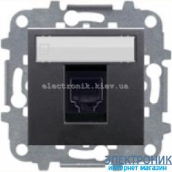 Розетка компьютерная или телефонная одинарная  ABВ Zenit антрацит
