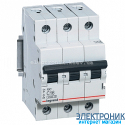 Автоматический выключатель Legrand RX3 - 3P 16А, C