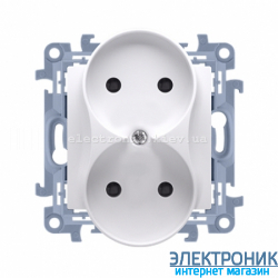Розетка двойная SIMON10 без заземления, модуль, белый