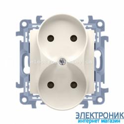 Розетка двойная SIMON 10 без заземления Franch, модуль Крем