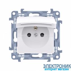 Розетка электрическая SIMON10 IP44 с заземлением Schuko, с прозрачной крышкой, белый