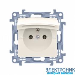 Розетка электрическая SIMON10 IP44 с заземлением Schuko, с прозрачной крышкой, кремовый