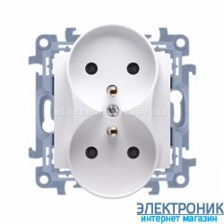 Розетка двойная SIMON 10 с заземлением Franch, со шторками, модуль Белый
