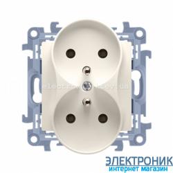 Розетка двойная SIMON 10 с заземлением Franch, со шторками, модуль Крем