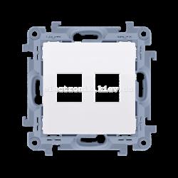 Розетка информационная SIMON10 под 2xRJ45 Keystone, белый
