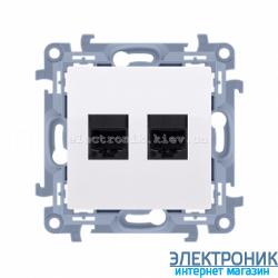 Розетка компьютерная SIMON 10 2xRJ45 двойная Белый
