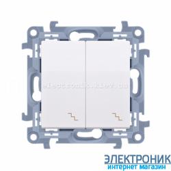 Выключатель SIMON10 проходной двойной, белый