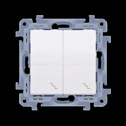 Выключатель SIMON10 проходной двойной с подсветкой, белый