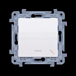 Выключатель SIMON10 проходной одинарный с подсветкой, белый