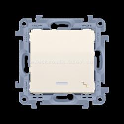 Выключатель SIMON10 проходной одинарный с подсветкой, кремовый