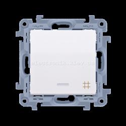 Выключатель SIMON10 крестовой одинарный с подсветкой, белый