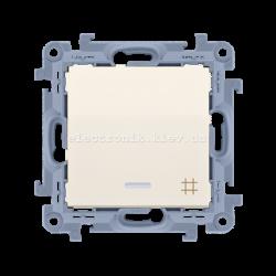 Выключатель SIMON10 крестовой одинарный с подсветкой, кремовый