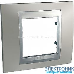 Рамка 1-я Schneider Electric Unica Top Матовый никель/Алюминий