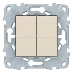 Выключатель 2-клавишный, перекрестный (с трех мест), Бежевый, серия Unica New