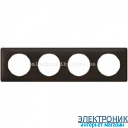 Рамка 4-постовая Legrand Celiane, прямоугольная, 303х82мм (черная перкаль)