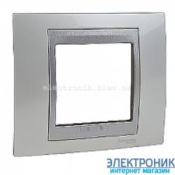 Рамка 1-я Schneider Electric Unica Top Белоснежный/Алюминий