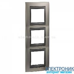 Рамка 3-я вертикальная Schneider Electric Unica Top Матовый никель/Графит