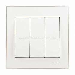 RAIN Выключатель тройной жемчужно-белый перламутр