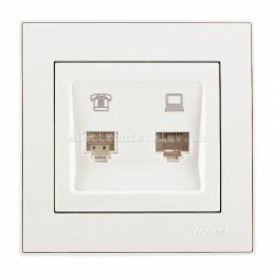 RAIN Розетка компьютерная + телефон жемчужно-белый перламутр
