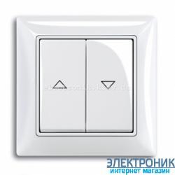 Выключатель жалюзи с фиксацией 2-клав с накладкой ABB Basic 55 белый