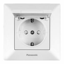 Panasonic ARKEDIA SLIM белый Розетка с заземлением, крышкой и шторками