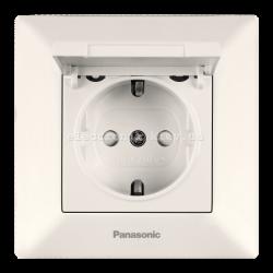 Panasonic ARKEDIA SLIM крем Розетка с заземлением, крышкой и шторками