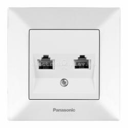 Panasonic ARKEDIA SLIM белый Розетка комплексная (компьютерная+телефонная) (RJ45-RJ11, Cat5e-Cat3)