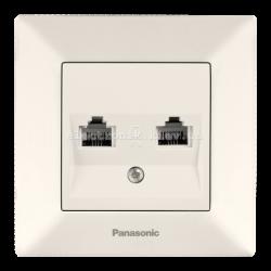 Panasonic ARKEDIA SLIM крем Розетка комплексная (компьютерная+телефонная) (RJ45-RJ11, Cat5e-Cat3)