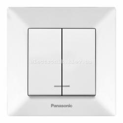 Panasonic ARKEDIA SLIM белый Выключатель двойной с подсветкой