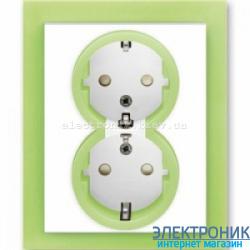 Розетка 2-я с заземлением и шторками в сборе с рамкой ABB Neo белый/зеленый