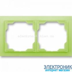Рамка 2-поста ABB Neo белый/зеленый