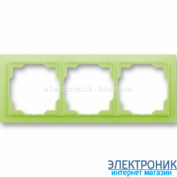 Рамка 3-поста ABB Neo белый/зеленый
