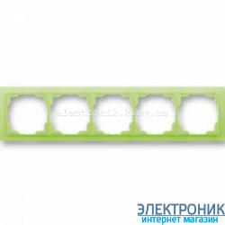 Рамка 5-постов ABB Neo белый/зеленый