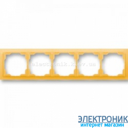 Рамка 5-постов ABB Neo белый/оранжевый