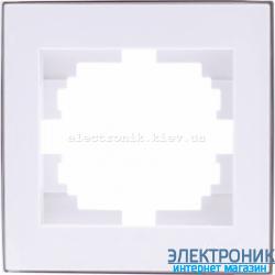 RAIN Рамка 1-ая белая с вставкой хром