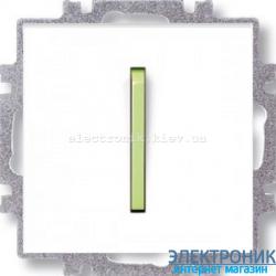 Выключатель/переключатель 1-клав., с подсветкой проходной безвинтовые зажимы ABB Neo белый/зеленый